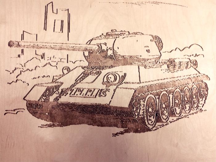 Картинка танка для выжигания по дереву